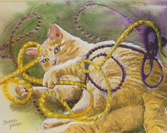 Original Watercolor Painting - Cat with Yarn - Cat Painting - Small Painting for Wall or Tabletop - Animal Art - Home Decor