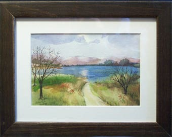 "Original Painting - Watercolor Painting - Puerto Rico Lake Scene - Landscape Painting - Mat and Frame Included - Frame Size 6"" x 8"""