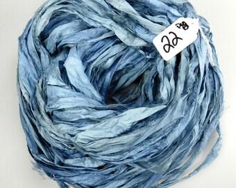 Sari Silk Ribbon, Recycled Silk Sari Ribbon, Denim blue sari ribbon, jewelry supply, weaving supply, knitting supply, blued steel