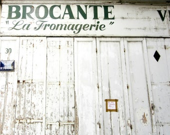 Kitchen Wall Art Rustic White Architecture Old Wooden Door French Writing 'Fromagerie'
