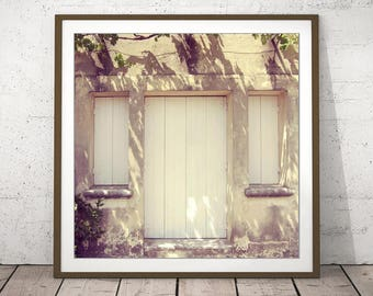 """Architecture Art - France Travel Photography - Neutral Wall Art - French Country Decor - Provence France - Wood Shutters """"Provence Morning"""""""