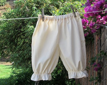 Ready now!  Girls SMALL Natural Organic Muslin Bloomers