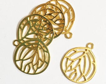 Bulk 60 pcs of gold plated pendant 27x22mm, Gold teardrop  pendant, bulk alloy gold pendant