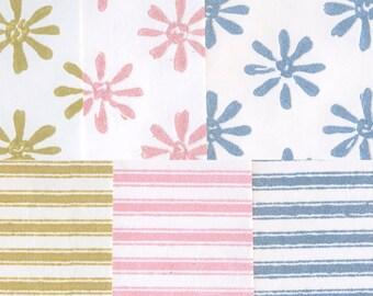 Vintage Flocked Wallpaper - Daisy and Stripe Assortment