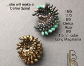 A seed bead stitched spiral tutorial instant download by Beth Stone - beading beadweaving instruction pattern seed bead beadwork beadweaving