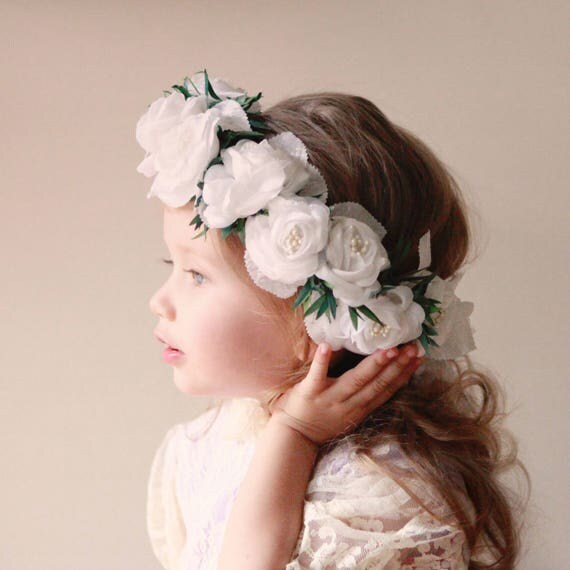 Flower girl crown, White flower girl crown, rose floral wreath, Toddler Photo Prop, Photography prop, little girl headband (12 months & up)
