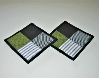 Hot Pads Black White Olive Green (Set of 2)