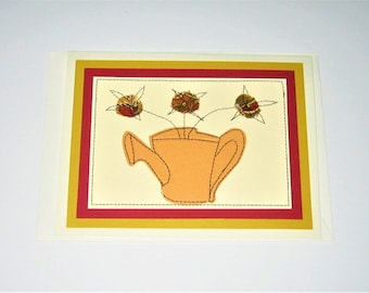 Greeting Card Mixed Media Watering Can with Flowers