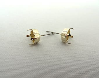 1 Pair Light Gold Plated Post Stud Earrings for Swarovski 39ss 8mm Chatons
