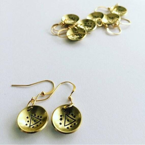 Domed Brass Earrings with Triangle Motif - Festival - Boho - Gypsy - Drop - Gold - Folk - Geometric
