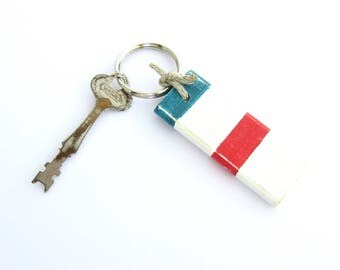 Nautical Key Ring, Gift for Sailors, Nautical Wood Gift, 5th Anniversary Gift, Red Striped Key Ring, Boat Keychain, Wooden Key Fob