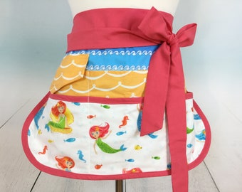 Sea Mermaid Sassy Vendor Apron, Half Apron with 6/8 Pockets, great for Teachers, Gardening, Crafts, Utility, Back to School, Farmers market