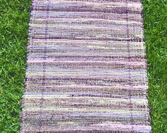 Wool table runner in lavender heathers, 13 x 70