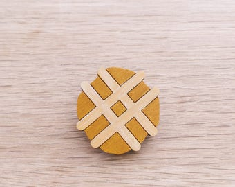 Waffle wooden brooch . Wooden pin . Lapel pin . Badge . Belgian Waffle . Waffle lover . Gift for Her . Gift for Teens . Food Lover