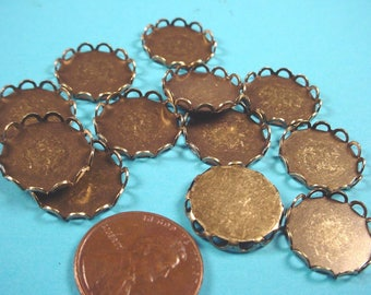 12 Brass Ox Round Lace Edge Bezel Cups 15mm