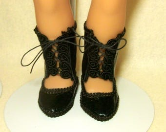 """Black, open-front, mid-calf boots for 18"""" doll"""