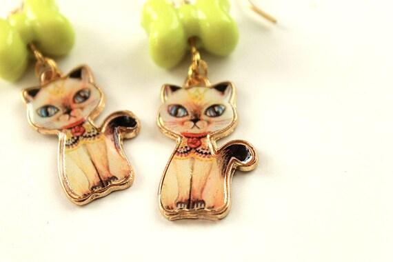 Kawaii retro cat kitten earrings with bow lolita sweet fairy kei siamese