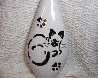 Siamese Stencil Cat On Vase Ceramic Original Design Kiln Fired Signed Handmade by GMS