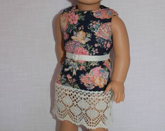 18 inch doll clothes, victorian print tank dress with belt, sleeveless summer dress, Upbeat Petites