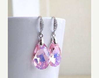 Summer Sale Pink Swarovski Crystal Earrings Teardrop Sterling CZ Dangle
