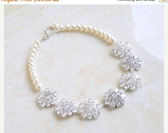 Summer Sale Bridal Necklace Ivory Swarovski Pearl Pear CZ Silver Brooch BN1