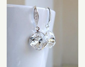 Summer Sale White Swarovski Crystal Earrings Foiled Cushion Stone Sterling