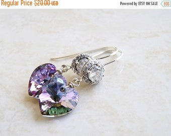 Summer Sale Lilac Teal Swarovski Crystal Earrings CZ Halo Silver Dangle