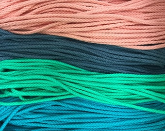 """1/8"""" (4mm) round cotton cord, drawcord / sold by the yard / wholesale rope / macrame supplies / cotton rope / coloured rope / string"""