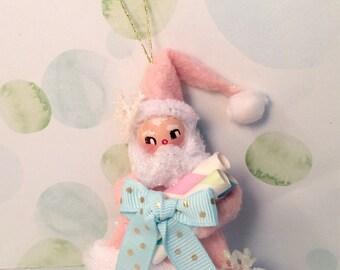 Pink Santa Claus pastel holiday christmas ornament vintage retro inspired santa ornament art doll pink christmas