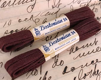 Two Pair of Vintage New in Package Brown Bostonian 24 Mercerized Shoe Laces/Shoelaces