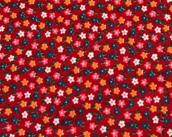 2 Yards of Vintage Tiny Red Floral Calico Print Cotton Fabric