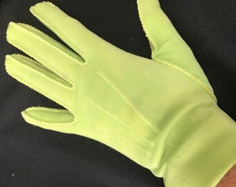 One (1) Pair of Vintage Lime Green Cotton Ladies' Gloves