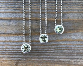 Green Amethyst Pendant, Prasiolite Gemstone Necklace in Sterling Silver, Minty Sage Gem, Hidden Bail Slide Necklace, February Birthstone