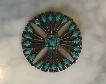 Native American St Labre Pin Pendant Turquoise Pin