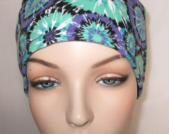 Women's Purple-Green  Cotton Stretch Knit Chemo Cap, Cancer Hat, Alopecia Beanie