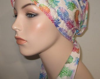 Pineapple Print  Chemo Hat, Cancer Scarf, Surgical Scrub Hat, Turban, Hair Loss