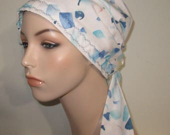 Watercolor Print PreTied Chemo Hat, Cancer Scarf, Modest Hat Alopecia