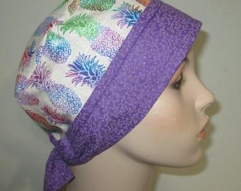 Chemo Hat FREE Ship Pineapples  Scrub Cap OR Cap Nurses Cap Surgical Cap  Adjustable Chemo Hat