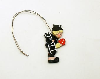 Vintage Christmas Ornament Chimney Sweep Wood Miniature Good Luck Symbol