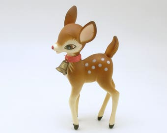 Vintage Christmas Decoration Deer Figurine Fawn Bambi Figurine