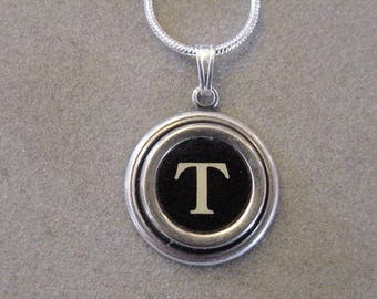 Typewriter key jewelry Necklace BLACK LETTER T  Typewriter key necklace Initial Necklace serif font T