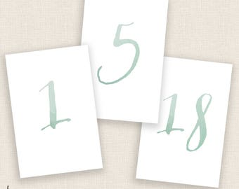 SAGE GREEN - DIY Printable Table Numbers  - 4x6 Digital Design - Numbers 1-20 - Painted Blue Watercolor and Calligraphy - Instant Download