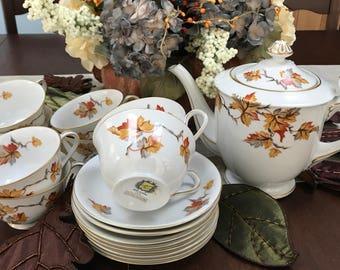 TEA - VINTAGE - Golden Autumn Tea Set - from Japan- Mid Century