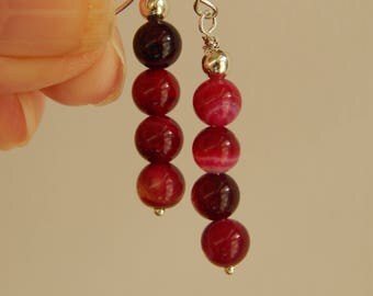 Dark Fuschia Agate stacked beads, earrings