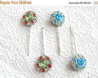 CLEARANCE - Red/ green or blue bobby-pins, hair accessory, womens accessory, fashion accessory