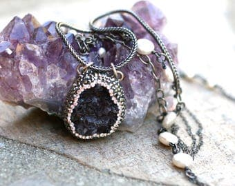 Purple Amethyst and White Freshwater Coin Pearl Gemstone Double Strand Necklace, Oxidized Sterling Silver, February Birthstone Necklace