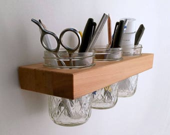 Organizer, Jelly Jar Cups Wall Organizer in Reclaimed Wood, Mason Jar Wall for Bath, Kitchen or Office