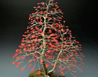 Bonsai Copper Wire Tree Sculpture In Spring Blossoming - 2000 By Omer Huremovic - Free Shipping