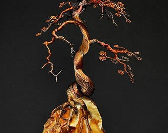 Hand Twisted Metal Copper Bonsai Wire Tree Art Sculpture  - 2277 - FREE SHIPPING