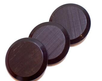 Vintage Black Buttons x 3 Pieces, Garment Buttons, Black Buttons 1 3/4 inches diameter, Shank Back
